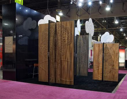 Global Shop 2012 - fairy tails on laser routed on MDF panels and laminated with RENOLIT 3D Laminates