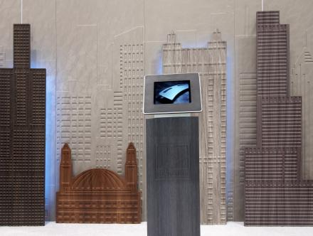 Global Shop 2013 - Famous Chicago skyline buildings routed on MDF boards and laminated with RENOLIT 3D Laminates