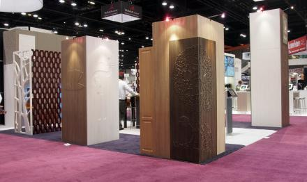 Global Shop 2013 - routed themed panels lamianted with RENOLIT 3D Laminates