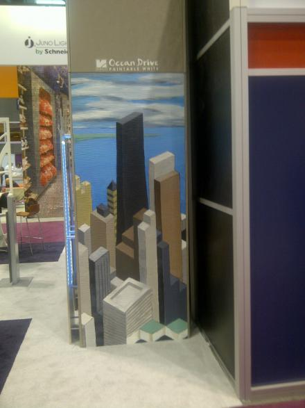 Global Shop 2013 - painting of Chicago's Skyline on RENOLIT's Woodstock Design Paintable White - painted by Wendy Letven